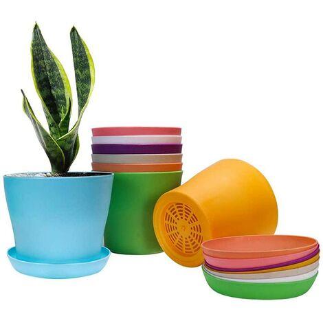 Juego de 8 macetas de plástico de colores con bandejas de goteo, platillos, tazas, prácticas tazas de semillas de flores, macetas para vivero, para interior y exterior