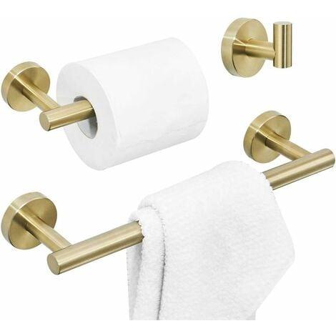 """main image of """"Juego de accesorios de baño de 3 piezas incluido Gancho para batas Toallero Portarrollos de papel higiénico, acabado dorado cepillado montado en la pared"""""""