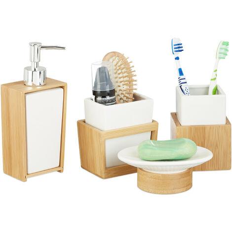 Juego de Accesorios de Baño Moderno, Bambú-Cerámica, Beige-Blanco, 4 Unidades
