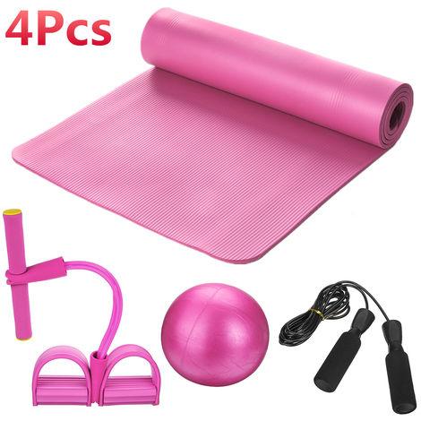 Juego de alfombrillas de yoga de 5 piezas, cuerda de tensión del pedal, pelota de pilates, ejercicio, gimnasio, entrenamiento, púrpura