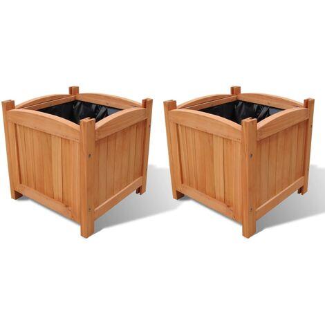 Juego de arriates de madera 2 unidades 30x30x30 cm