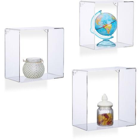 Juego de Baldas Flotantes en Forma de Cubos Cuadrados, Plástico, Transparente, 3 Unidades