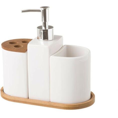 Juego de Baño de 3 Piezas, realizado en Cerámica y Bambú, de color Blanco. Diseño Limpio, con estilo Minimalista - Hogar y Más