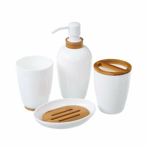 Juego de Baño de 4 Piezas, de color Blanco y detalles en Madera. Diseño Minimalista, con estilo Sofisticado - Hogar y Más