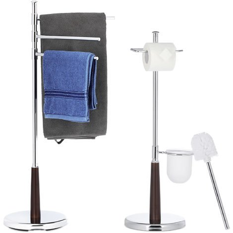Juego de Baño Moderno con Toallero y Escobillero, Plateado, 2 unidades