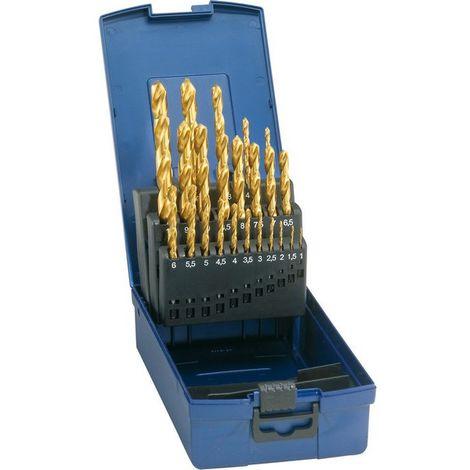 Juego de brocas cilíndricas HSS con recubrimiento TiN, DIN 338, Ø h8 : 1,00-5,90 mm, N- 50 unidades
