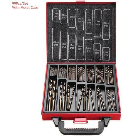 Juego de brocas de cobalto M35 de 99 piezas, brocas helicoidales HSS de titanio de 1,5-10 mm con caja de metal para taladrar madera de acero inoxidable