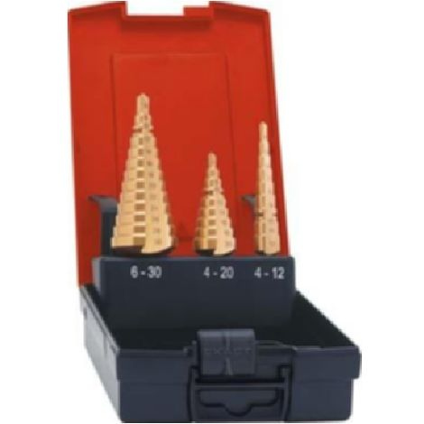 Juego de brocas|escalonadas universalesHSS TiN 4- 30 mm