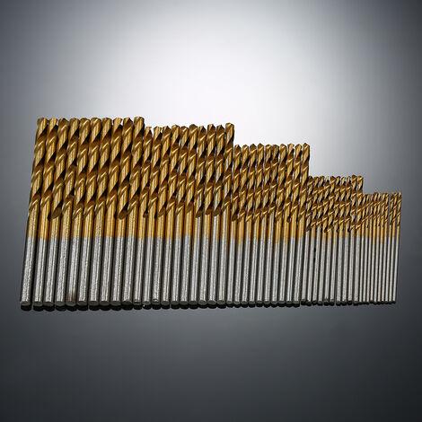 Juego de brocas helicoidales de titanio con revestimiento HSS de 50 piezas