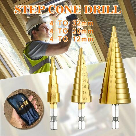 Juego de brocas HSS Juego de brocas de cono escalonado de acero de alta velocidad con mango hexagonal para herramientas de corte de agujeros de madera de metal de 3-12 mm, 4-12 mm, 4-20 mm, 4-32 mm ( juego de 3 piezas 4-32 mm)