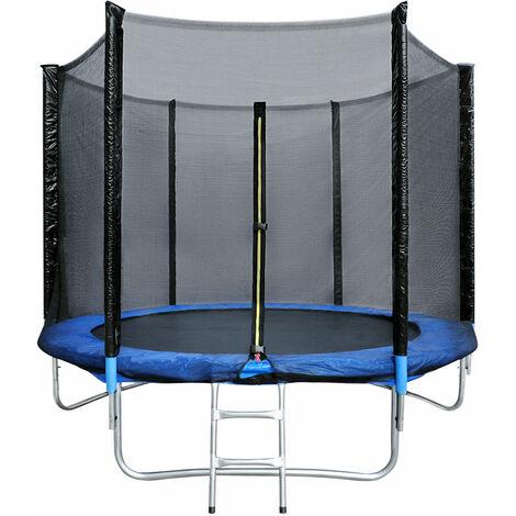 Juego de cama elástica exterior Ø183cm azul y negro, apto para juegos de jardín para niños y adultos, con red de seguridad y escalera