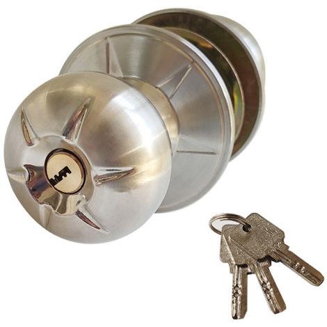 Juego de cerradura con pomo de puerta, con 3 llaves, manija redonda estilo bola