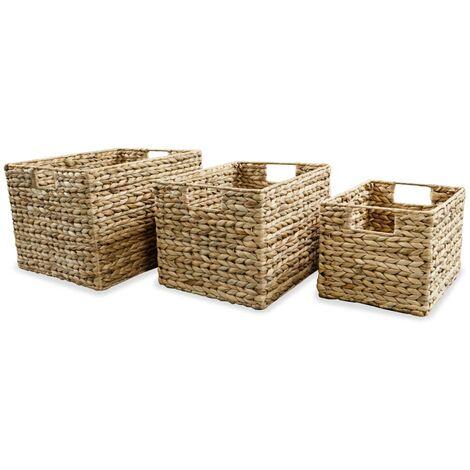 Juego de cestas de almacenaje de jacinto de agua 3 unidades