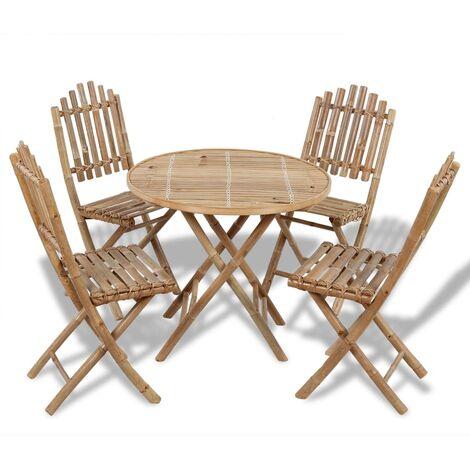 Juego de comedor de jardín plegable 5 piezas de bambú