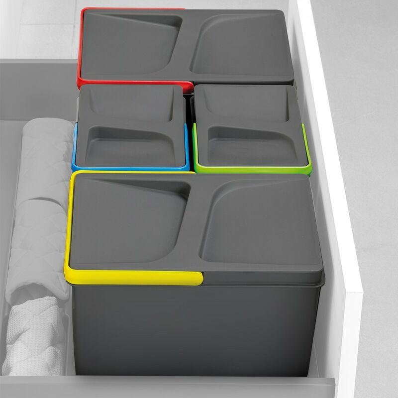 8936023 - Juego de contenedores con base Recycle para cajón de módulo 900 mm 15L, 7L, 7L - Emuca