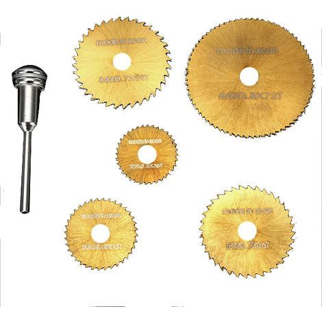Juego de cuchillas de sierra circular Hss de 6 piezas para herramientas rotativas Dremel