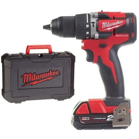 Juego de destornilladores / destornilladores inalámbricos de iones de litio de 18 V de litio Milwaukee M18 CBLPD-202C (batería 2x 2.0Ah) en estuche - carbón sin escobillas