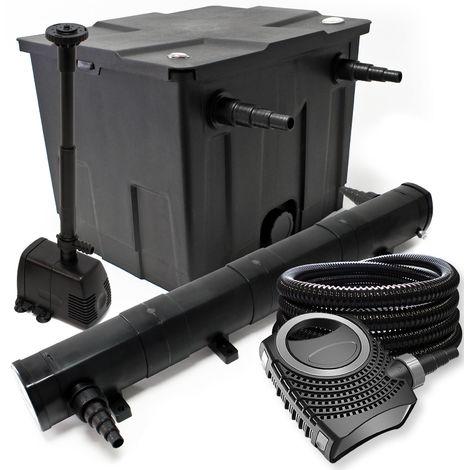 Juego de filtro para estanque bio 60.000l y UVC Clarificador con 18W 80W Bomba manguera y skimmer