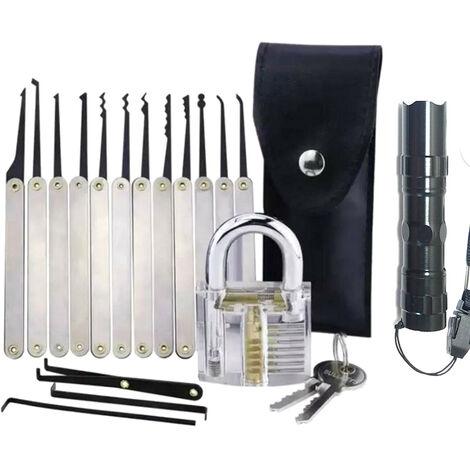 Juego de ganzuas, extractor de llaves, candado de practica transparente, herramientas de desbloqueo multiples con linterna