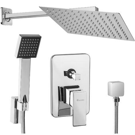 Juego de grifería de ducha empotrado completo - grifería para baño de latón, ducha monomando con conexiones estándar, rociador de ducha efecto lluvia con boquillas antical - gris