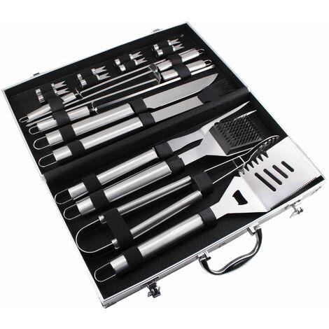 Juego de Herramientas de Barbacoa, Juego de Herramientas para Asar a La Parrilla, 18 utensilios de acero inoxidable, con estuche de aluminio, Material: Aleación de aluminio