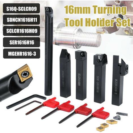 Juego de herramientas de soporte de rotación de vástago de 5 piezas de 16 MM con hoja y llave para torno de banco y herramienta de torneado CNC