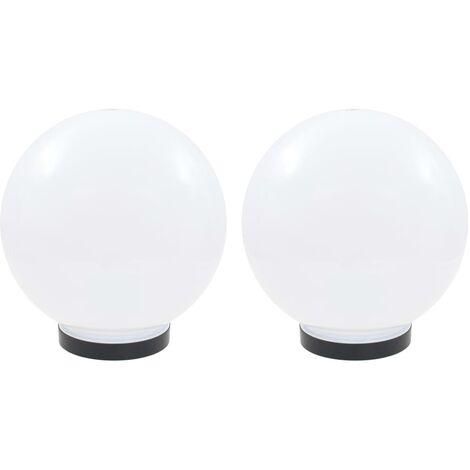 Juego de lámparas de bola LED 2 piezas esféricas 25 cm PMMA