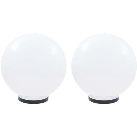 Juego de lámparas de bola LED 2 piezas esféricas 40 cm PMMA
