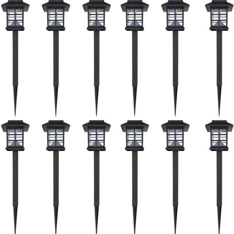 Juego de lámparas solares 12 unidades con estacas 8,6x8,6x38 cm