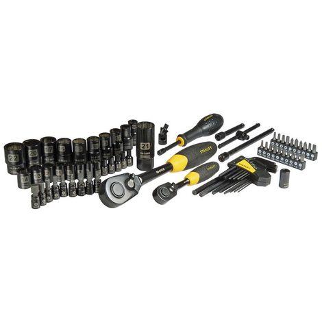 Juego de llaves de vaso 75 piezas 1/4 y 1/2 acabado negro pulido STANLEY STHT0-73398 (1 unidad)