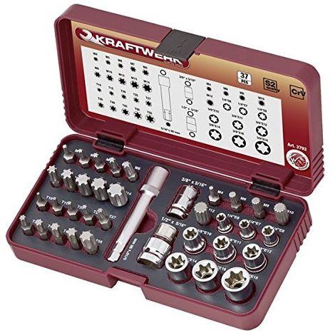 Juego de llaves de vaso y puntas especiales para tornillos TX, XZN y RIBE - 3792 - KRAFTWERK