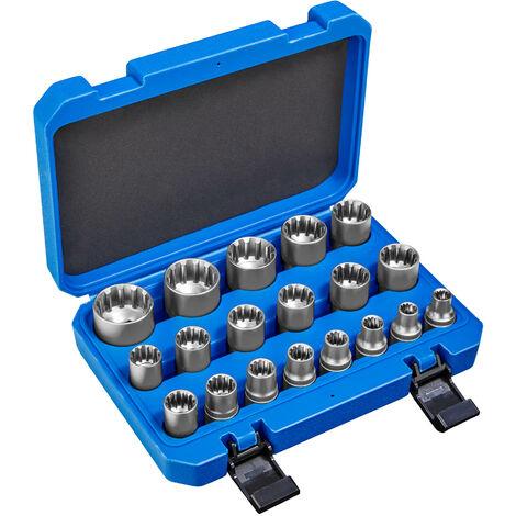 Juego de llaves tubulares Gear Lock 19 piezas - conjunto de llaves tubulares con maletín, kit de llaves de acero cromo vanadio para bricolaje, pack de herramientas manuales para taller - azul