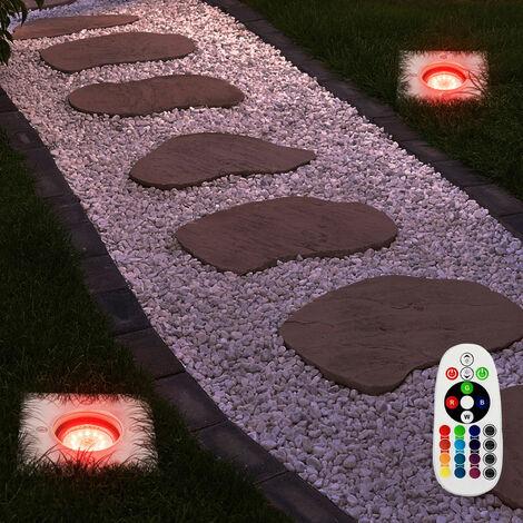 Juego de luces al aire libre 2 focos empotrables de suelo Parque lámparas de jardín en el conjunto incluyendo lámparas LED RGB