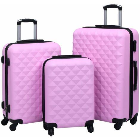 Juego de maletas rígidas 3 piezas ABS rosa