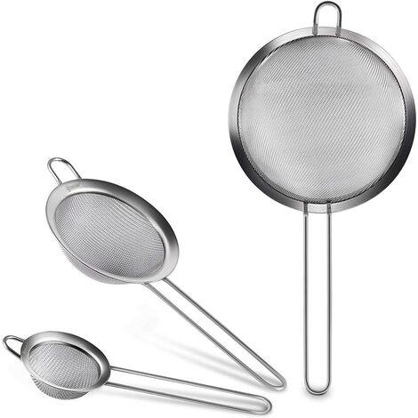 Juego de Malla Fina Cocina Colador Profesional 7/12/18 cm Harina Tamiz Colador - Acero Inoxidable Tamiz de Calidad con Mango engrosado