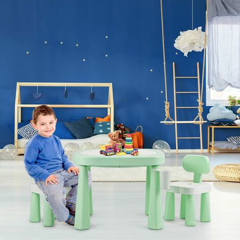 Juego de Mesa y 2 Sillas para Niño Mueble con Tecnología AR Mesa de Bloques para Juguete Pintura