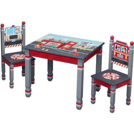 Juego de mesa y silla de bomberos de Fantasy Fields para niños TD-12514ASET