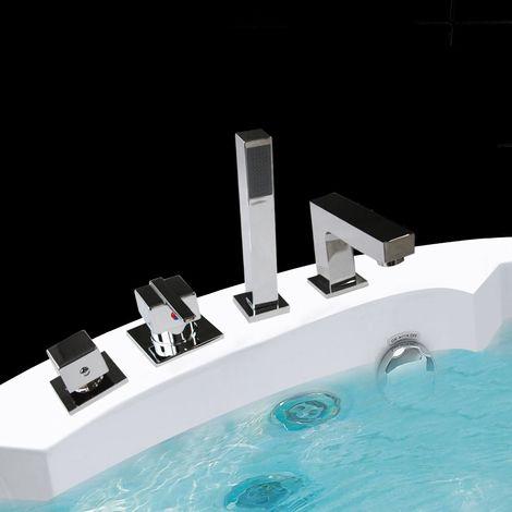 Juego de mezcladores de bañera cuadrados de 4 agujeros para bañera grifo de maneta alcachofa grifo grifería monomando baño