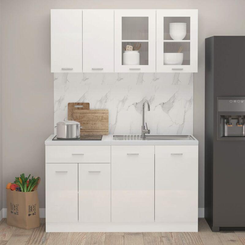 Juego de muebles de cocina 4 piezas aglomerado blanco brillo - Blanco