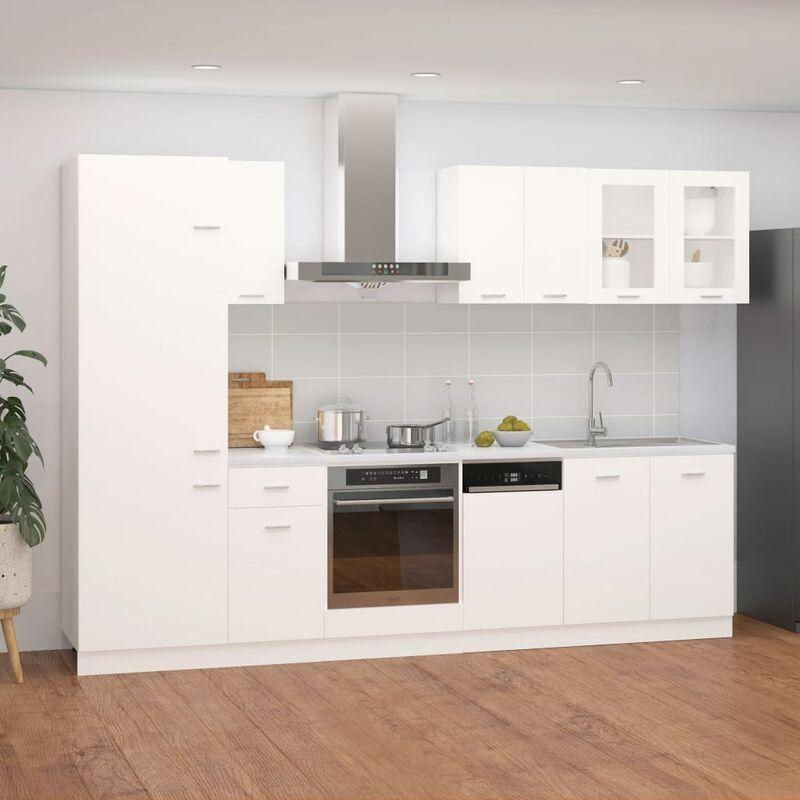 Juego de muebles de cocina 8 piezas aglomerado blanco brillo - Blanco