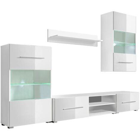 Juego de muebles de salón 5 piezas con iluminación LED blanco