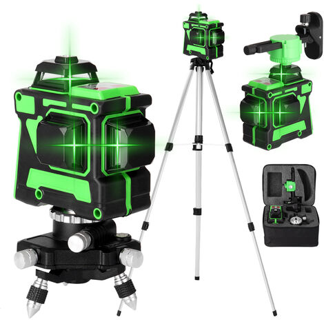 Juego de nivel laser KKmoon 3D de 12 lineas,Multicolor, enchufe de la UE con soporte de pared