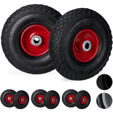 Juego de ocho ruedas de carretilla, 3.00-4, Hasta 100kg, Llanta de acero, 260 x 85 mm, Negro-rojo