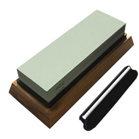 Juego de piedras de afilar de grano doble 400/1000, con guia de angulo de base de bambu y silicona antideslizante Piedra de afilar piedra de afilar