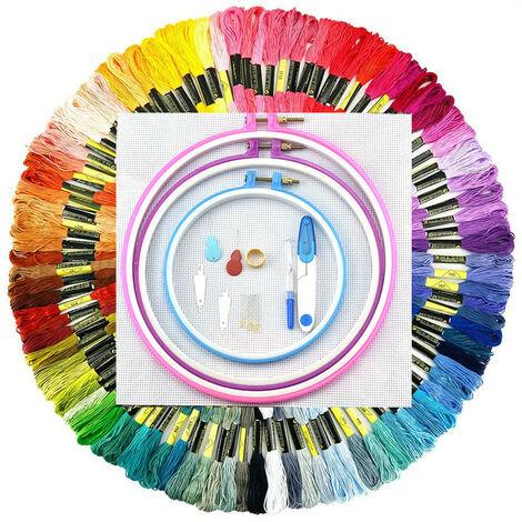 Juego de punto de cruz de inicio colorido de 100 piezas, círculos de bordado de 5 hilos