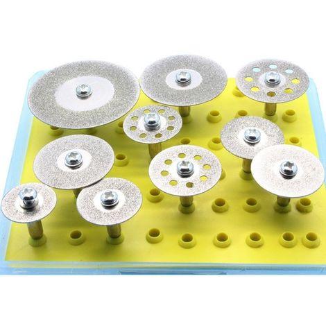 Juego de ruedas de corte de diamante de 10 piezas para herramienta rotativa Dremel