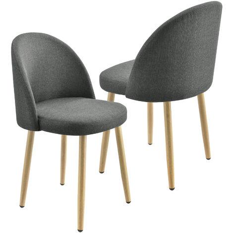Juego de sillas de comedor - 76 x 44 cm - Silla tapizada en textil - Sillas de Cocina - Set de 2 sillas - Gris oscuro