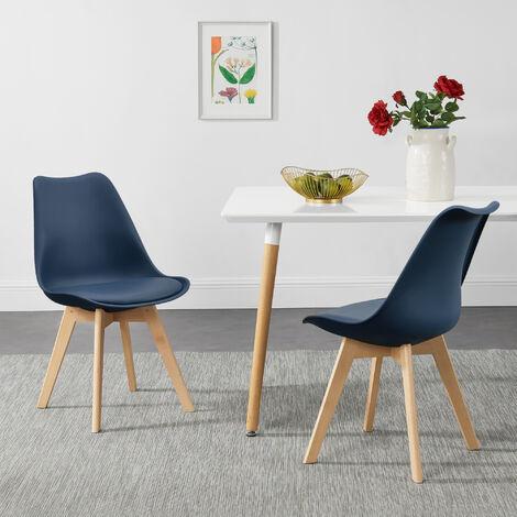 Juego de sillas de comedor - 81 x 49 x 57 cm - Silla tapizada en cuero sintético - Patas de madera de haya - Sillas de Cocina - Set de 2 sillas - Azúl