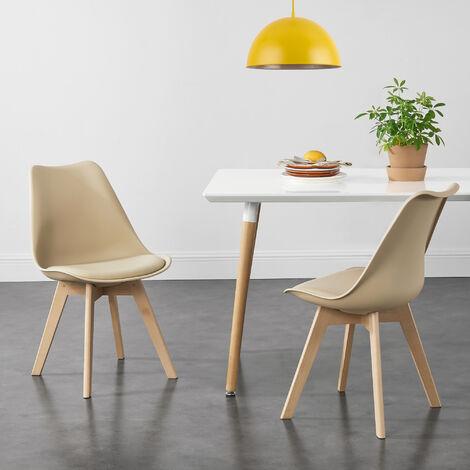 Juego de sillas de comedor - 81 x 49 x 57 cm - Silla tapizada en cuero sintético - Patas de madera de haya - Sillas de Cocina - Set de 2 sillas - Beige
