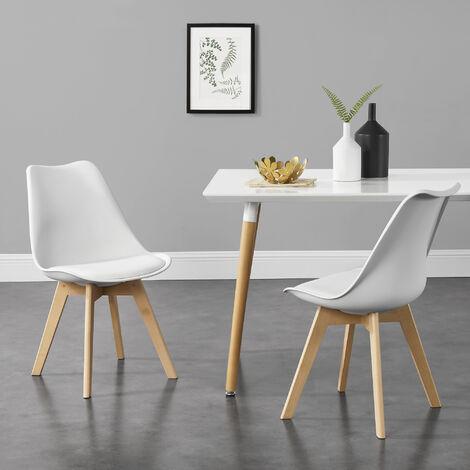 Juego de sillas de comedor - 81 x 49 x 57 cm - Silla tapizada en cuero sintético - Patas de madera de haya - Sillas de Cocina - Set de 2 sillas - Blanco